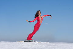 Elastic woman on ski Royalty Free Stock Photos
