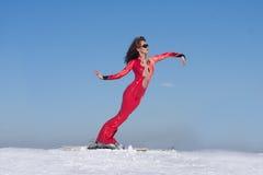 Elastic woman on ski Royalty Free Stock Photos