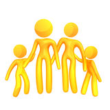Elastic yellow humanoid family icon Stock Photos