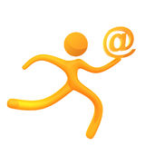 Elastic yellow humanoid icon email delivery Royalty Free Stock Photo