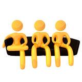 Elastic yellow humanoid icon on waiting list Royalty Free Stock Photo