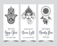 Elasticitet och styrka Mall för yogakortdesign svart white vektor illustrationer