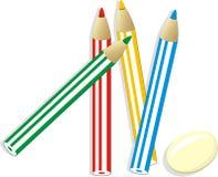 Elastisch und gesetzt von den bunten Bleistiften stock abbildung