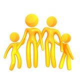 Elastische gelbe Humanoidfamilienikone Stockfotos