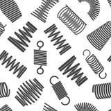 Elastyczny spirala wzór Metalu kręcony i compacted elastyczny forma bended drucianych zwitek wektorowy bezszwowy wzór dla tkaniny royalty ilustracja