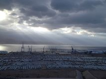Elat port. A stunning view of Elat Port Royalty Free Stock Images