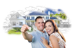 Elated Military Couple with Keys Over House Drawing and Photo Royalty Free Stock Image