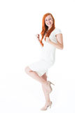 Elated young woman rejoicing Royalty Free Stock Photography