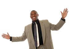 Elation. A businessman gesturing with elation Stock Images