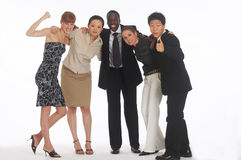 Elation. A group of young, international businesspeople standing together being happy Royalty Free Stock Images