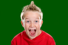 Elation. Happy boy in front of green background Royalty Free Stock Photography