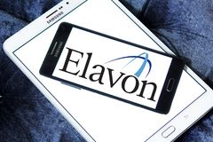 Elavon payment systems logo. Logo of Elavon payment company on samsung mobile. Elavon Inc., formerly NOVA, is a processor of credit card transactions and a Stock Photography