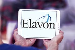 Elavon payment systems logo. Logo of Elavon payment company on samsung tablet. Elavon Inc., formerly NOVA, is a processor of credit card transactions and a Royalty Free Stock Photos
