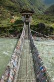 Żelazny łańcuszkowy most, Tamchoe monaster, Bhutan Fotografia Stock