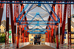 Żelazny bridżowy Salford Quay Machester UK Zdjęcie Stock