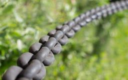 Żelazo łańcuchy na trawy tle Zdjęcie Stock