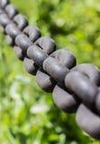 Żelazo łańcuchy na trawy tle Zdjęcia Royalty Free
