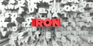 ŻELAZO - Czerwony tekst na typografii tle - 3D odpłacający się królewskość bezpłatny akcyjny wizerunek Fotografia Royalty Free