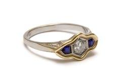 Elb Ring - Macro. Jeweled ring isolated on white Stock Images