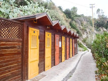 Elba Island, beach cabins Stock Photos