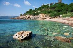 Elba Island. Desert beach and cristal clear sea Royalty Free Stock Photo