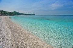 Elba Island. Desert beach and cristal clear water Royalty Free Stock Photos
