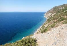Elba Island, les falaises du côté Ouest Image libre de droits