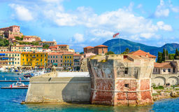 Elba island panoramic view of coast, Italy. Stock Photos