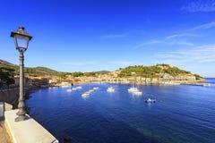 Elba island, Porto Azzurro village bay. Marina and street lamp. Stock Photo