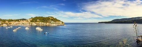Elba island, Porto Azzurro village bay panoramic view. Tuscany, Royalty Free Stock Image