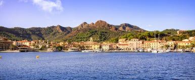 Elba island, Porto Azzurro village bay panoramic view. Tuscany, Royalty Free Stock Photos