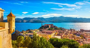 Elba island, Portoferraio aerial view from fort. Lighthouse and. Fort. Tuscany, Italy, Europe Stock Image