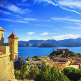 Elba island, Portoferraio aerial view from fort. Lighthouse and Royalty Free Stock Image