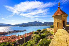 Elba island, Portoferraio aerial view from fort. Lighthouse and. Fort. Tuscany, Italy, Europe stock photography