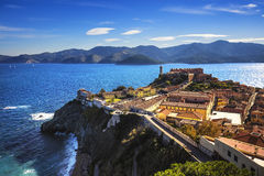 Elba island, Portoferraio aerial view. Lighthouse and fort. Tusc Royalty Free Stock Image