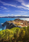 Elba island, Portoferraio aerial view. Lighthouse and fort. Tusc Stock Photos