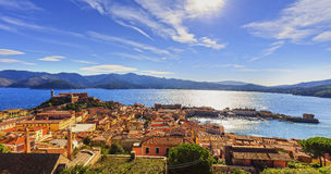Elba island, Portoferraio aerial view. Lighthouse and fort. Tusc Royalty Free Stock Photography