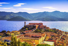 Elba island, Portoferraio aerial view. Lighthouse and fort. Tuscany, Italy. royalty free stock image