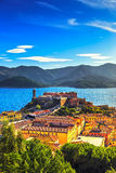 Elba island, Portoferraio aerial view. Lighthouse and fort. Tusc Royalty Free Stock Photo