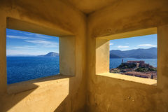 Elba island, Portoferraio aerial view from old windows. Lighthou Stock Image