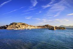 Elba island, Portoferraio village harbor and skyline. Tuscany, I Stock Images