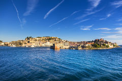 Elba island, Portoferraio village harbor and skyline. Tuscany, I Royalty Free Stock Images