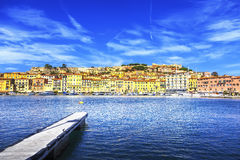 Elba island, Portoferraio village harbor and skyline. Tuscany, I Stock Photo