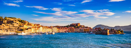 Elba island, Portoferraio village panorama, harbour and skyline. royalty free stock photography