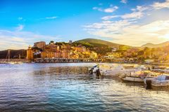 Elba island, Rio Marina village bay. Bay beach and lighthouse. T. Uscany, Italy, Europe stock photography