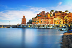 Elba island, Rio Marina village bay. Bay beach and lighthouse. T Royalty Free Stock Photography