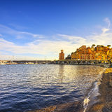 Elba island, Rio Marina village bay. Bay beach and lighthouse. T. Uscany, Italy, Europe royalty free stock photos