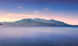 Elba island, sea Capanne mount. Tuscany, Italy. Long Exposure. Royalty Free Stock Photos