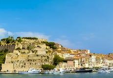 Elba island (Tuscany, Italy). The bay of Portoferraio, the main harbor of the beautiful Elba island (Tuscany, Italy Royalty Free Stock Photos