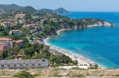 Elba island, Tuscany, Italy, Europe. Panoramic view near Portoferraio with beach stock photography